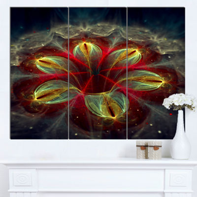 Designart Red Golden Colorful Fractal Design Floral Canvas Art Print - 3 Panels