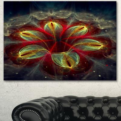 Designart Red Golden Colorful Fractal Design Floral Canvas Art Print - 3 Panels