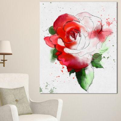 Designart Red Hand Drawn Rose Illustration FloralCanvas Art Print - 3 Panels