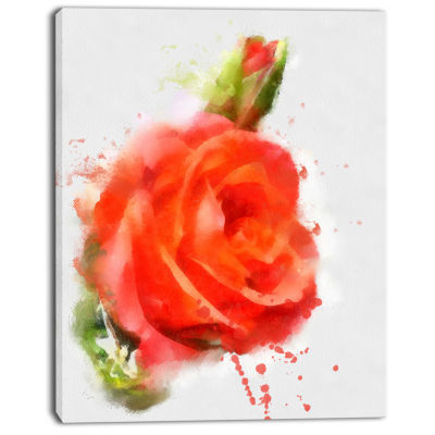 Designart Red Hand Drawn Rose Sketch Floral CanvasArt Print