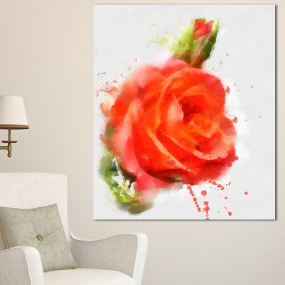 Design Art Red Hand Drawn Rose Sketch Floral CanvasArt Print - 3 Panels