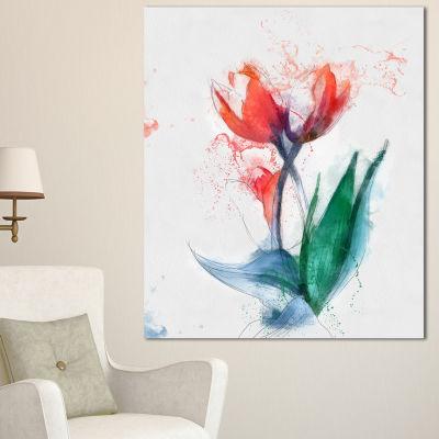 Design Art Red Hand Drawn Tulips Sketch Floral Canvas Art Print