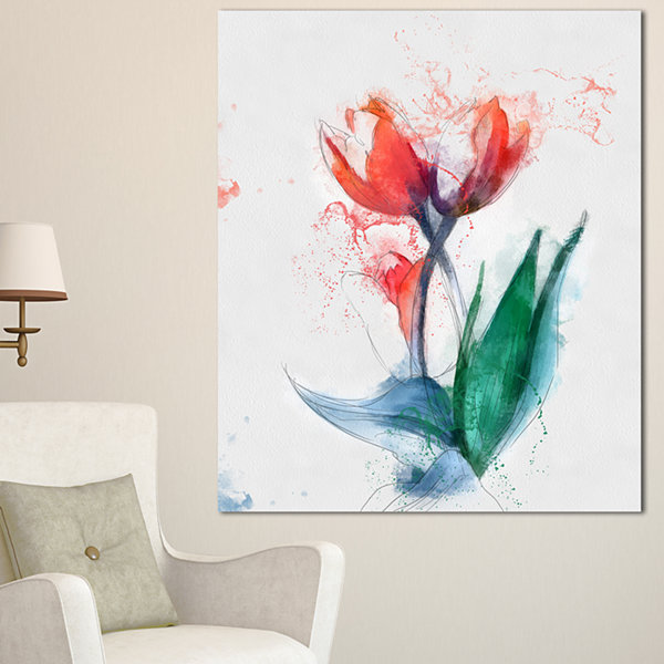 Designart Red Hand Drawn Tulips Sketch Floral Canvas Art Print