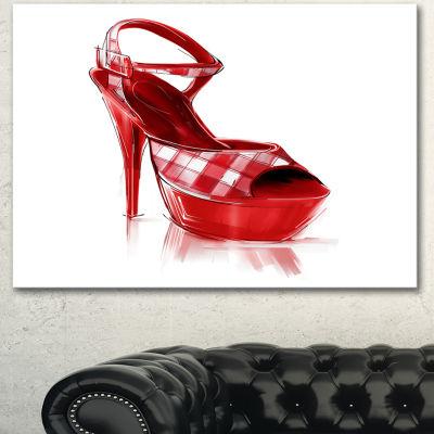 Designart Red High Heel Women S Shoe ContemporaryCanvas Art Print