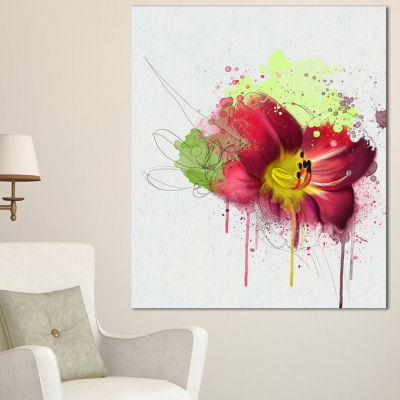Design Art Red Lily With Green Paint Splashes Floral Canvas Art Print