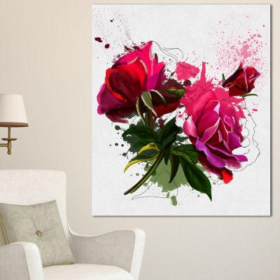 Designart Red Peonies Sketch Watercolor Floral Canvas Art Print - 3 Panels