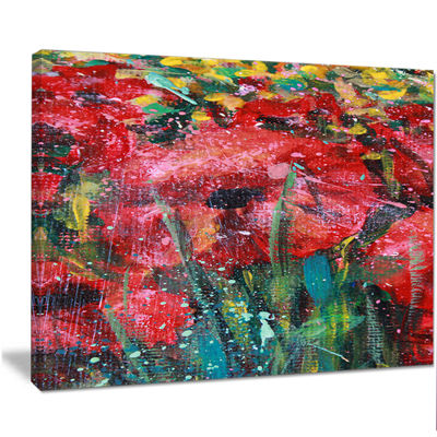 Designart Red Poppies Acrylic Drawing Extra LargeFloral Wall Art