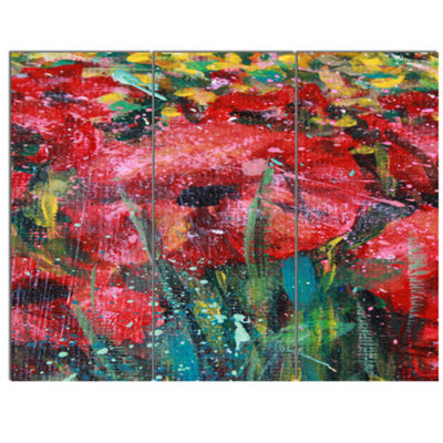 Designart Red Poppies Acrylic Drawing Extra LargeFloral Wall Art - 3 Panels