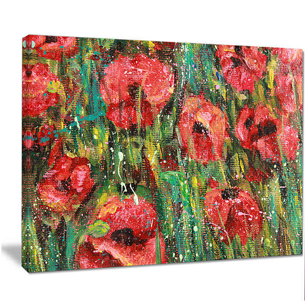 Design Art Red Poppies Watercolor Drawing Extra Large Floral Wall Art