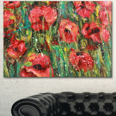 Designart Red Poppies Watercolor Drawing Extra Large Floral Wall Art - 3 Panels