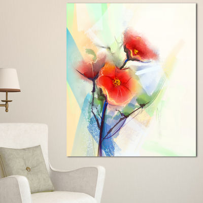 Designart Red Poppy Flowers On Grunge Back FloralCanvas Art Print