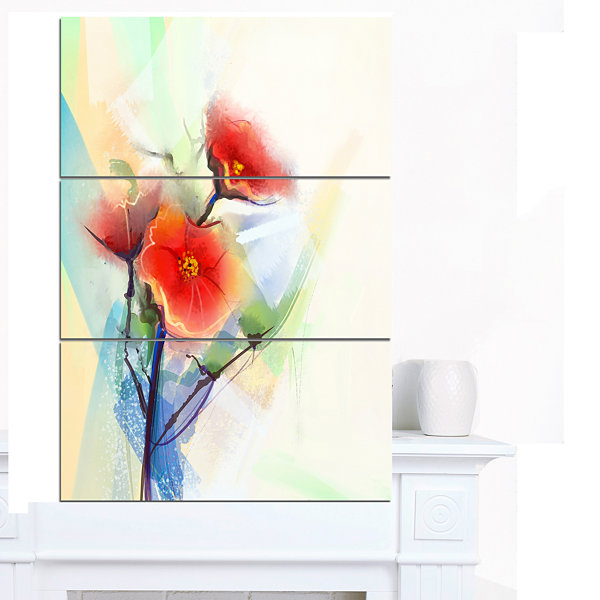Designart Red Poppy Flowers On Grunge Back FloralCanvas Art Print - 3 Panels