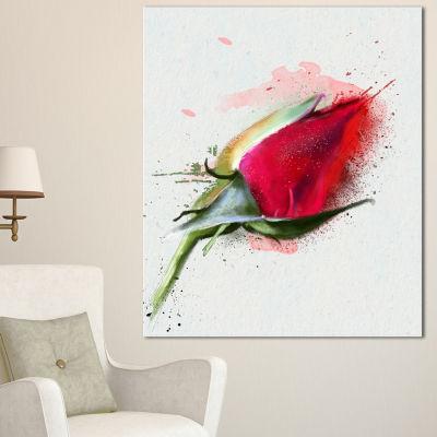 Designart Red Rose Bud Watercolor Sketch FlowersCanvas Wall Artwork - 3 Panels
