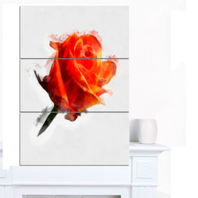 Designart Red Rose Drawing With Watercolor FloralCanvas Art Print - 3 Panels