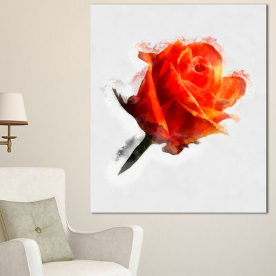 Design Art Red Rose Drawing With Watercolor FloralCanvas Art Print - 3 Panels