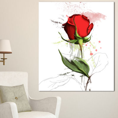 Designart Red Rose Hand Drawn Illustration FloralCanvas Art Print