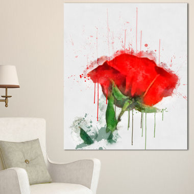 Designart Red Rose Hand Drawn Painting Floral Canvas Art Print
