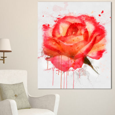 Designart Red Rose Hand Drawn With Splashes FloralCanvas Art Print