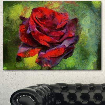 Designart Red Rose Illustration On Green Floral Canvas Art Print