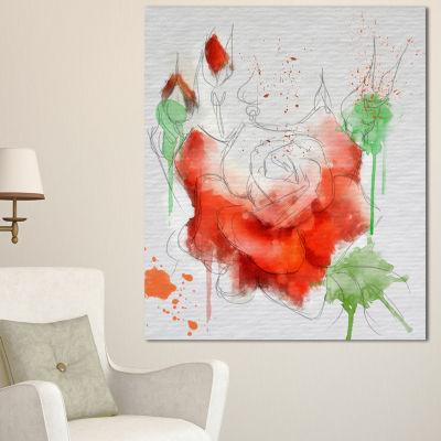 Designart Red Rose Illustration Watercolor FloralCanvas Art Print