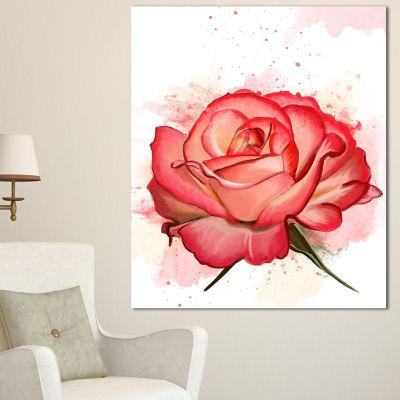 Designart Red Rose Illustration With Splashes Floral Canvas Art Print
