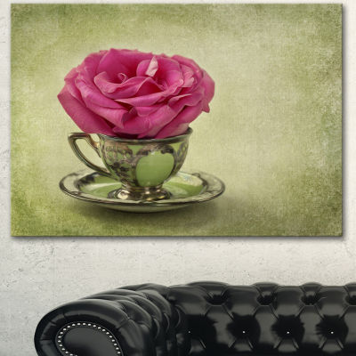 Design Art Red Rose In Cup And Saucer Floral Canvas Art Print