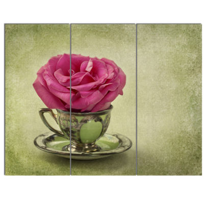 Designart Red Rose In Cup And Saucer Floral CanvasArt Print - 3 Panels