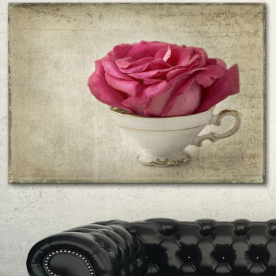 Designart Red Rose In Cup Photography Floral Canvas Art Print