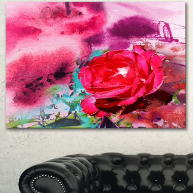 Designart Red Rose On Abstract Paper Floral Art Canvas Print
