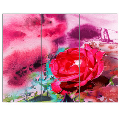 Designart Red Rose On Abstract Paper Floral Art Canvas Print - 3 Panels