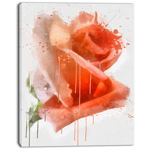 Design Art Red Rose Painting With Splashes FloralCanvas Art Print