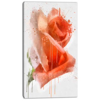Designart Red Rose Painting With Splashes Floral Canvas Art Print