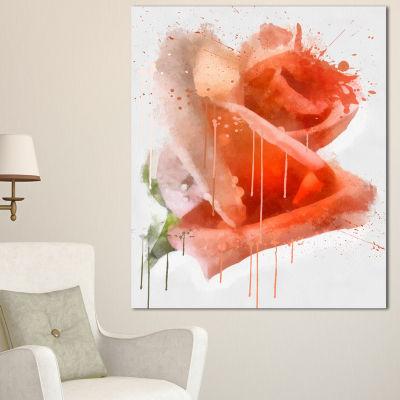 Designart Red Rose Painting With Splashes FloralCanvas Art Print - 3 Panels