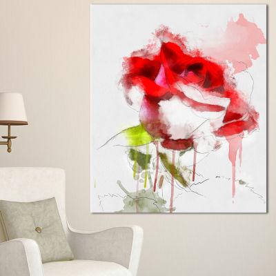 Designart Red Rose Sketch With Red Splashes LargeFloral Canvas Artwork