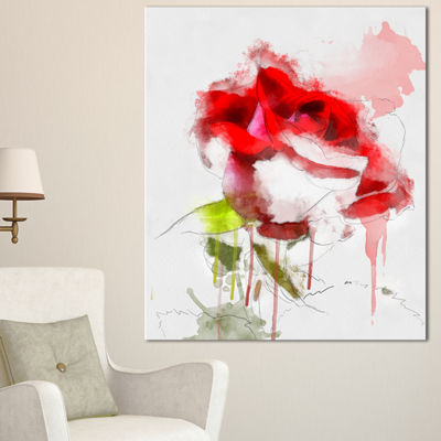 Designart Red Rose Sketch With Red Splashes LargeFloral Canvas Artwork - 3 Panels