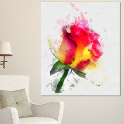 Designart Red Hand Drawn Rose Watercolor Flowers Canvas Wall Artwork