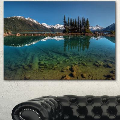 Designart Row Of Pine Trees And Mountain Lake Landscape Canvas Art Print - 3 Panels