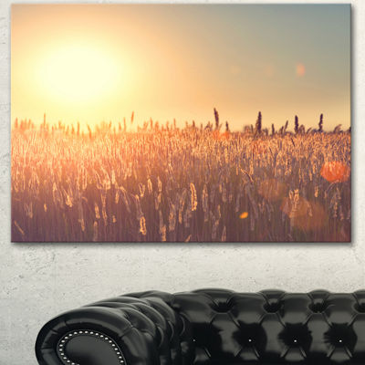 Designart Rural Land Under Shining Sun Large Landscape Canvas Art - 3 Panels