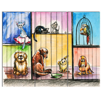 Designart Sad Animals In The Pound Abstract CanvasArt Print - 3 Panels
