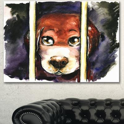 Designart Sad Dog In Animal Shelter Abstract Canvas Art Print - 3 Panels