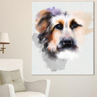 Designart Sad Dog Watercolor Illustration AnimalCanvas Art Print