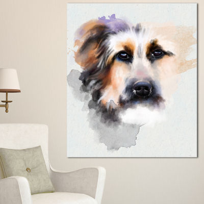 Designart Sad Dog Watercolor Illustration Animal Canvas Art Print - 3 Panels