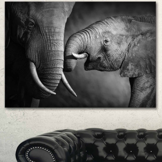 Designart Elephants Showing Affection Abstract Canvas Art Print