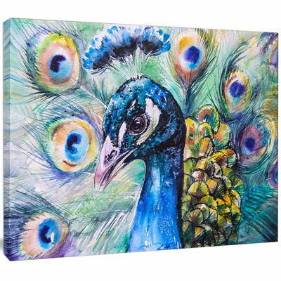 Designart Beautiful Peacock Watercolor Abstract Canvas Art Print