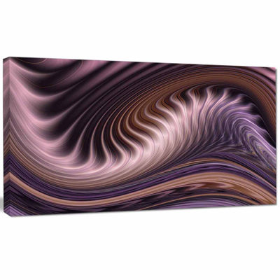 Designart Purple Waves Fractal Abstract Canvas Wall Art Print