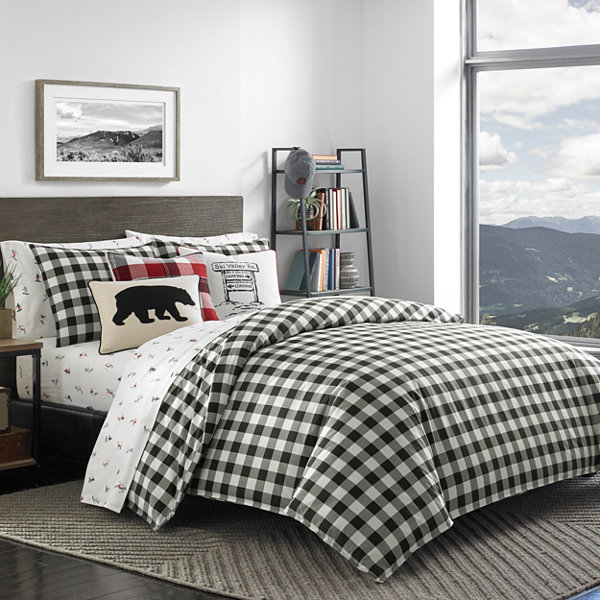 Eddie Bauer Mountain Plaid Black Duvet Cover Set