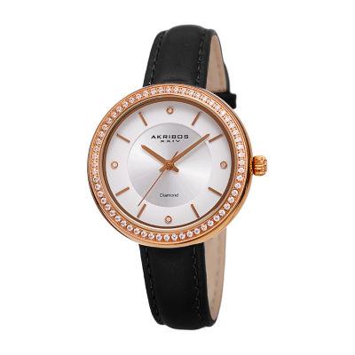 Akribos XXIV Womens Black Strap Watch-A-1067bk
