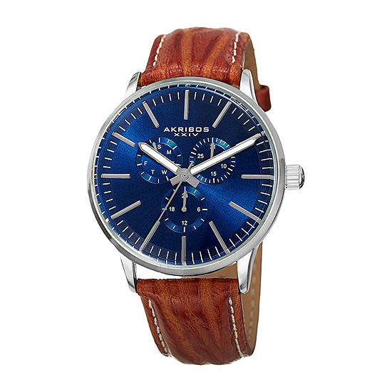 Akribos XXIV Mens Brown Strap Watch-A-838bu