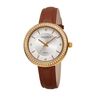 Akribos XXIV Womens Brown Strap Watch-A-1067br