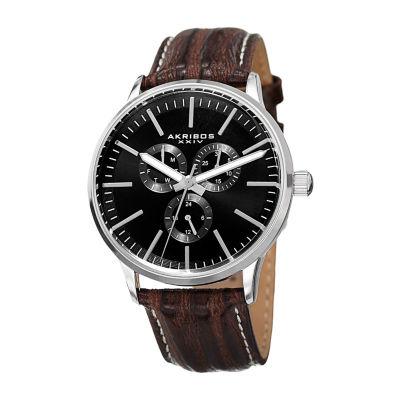 Akribos XXIV Mens Brown Strap Watch-A-838ssb
